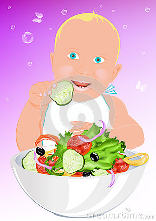 Child and fresh salad