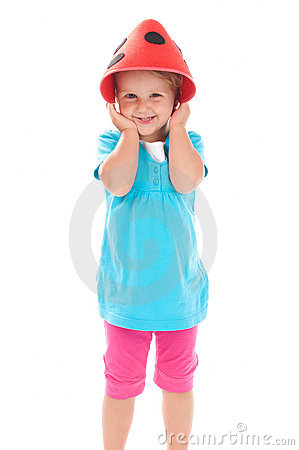 Child in a funny hat on his head