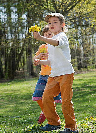 Child gathers flowers