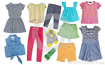 Child Girl Bright Summer Clothes Isolated. Stock Photo - Image ...