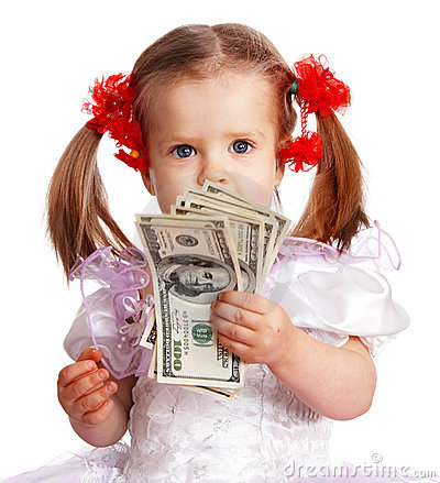 Child girl with dollar banknote.