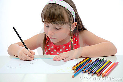 Child girl drawing
