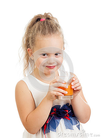 Child girl drinking juice isolated on white