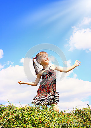 Child girl enjoy the sunshine