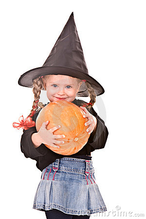 Free Child Girl In Costume Halloween Witch With Pumpkin Stock Photography - 11209662