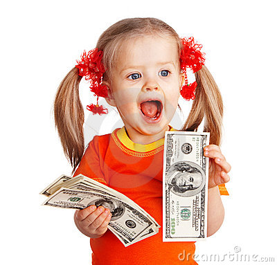 Child girl with money dollar banknote.