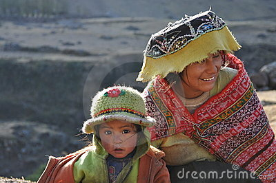 Child and girl from Peru Editorial Image