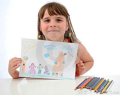 Child girl shows the draw