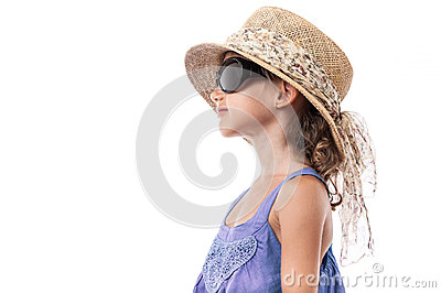 Child girl sunglasses hat summer isolated