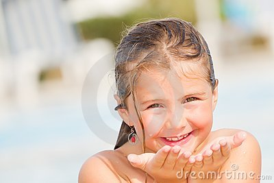 Child girl in sunny days