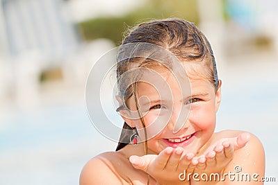 Child girl in sunny days