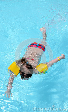 Child girl swimming in the pool