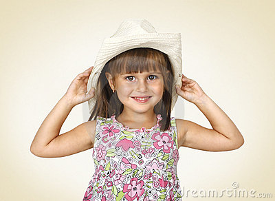 Child girl wearing white hat