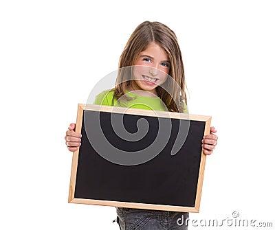 Child girl with white frame copy space black blackboard