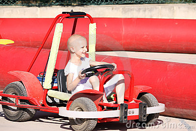 Child on go kart