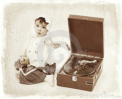 Child with gramophone