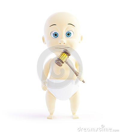 Child with a hammer judge on a white background