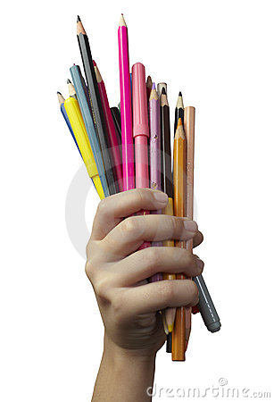 Child hand with pencils
