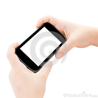Child hands holding smart phone