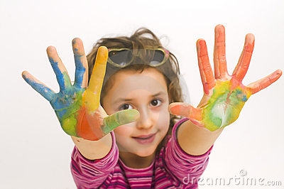 Child hands painted