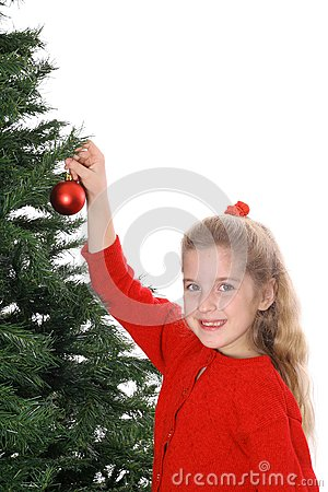 Child hanging ornament smile copyspace