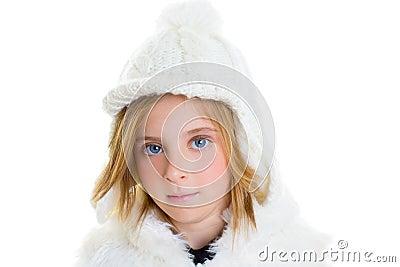 Child happy blond kid girl portrait winter wool white cap