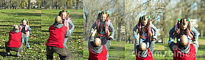 Child happy running to father