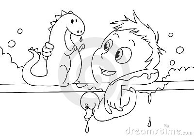 Child having a bath bw