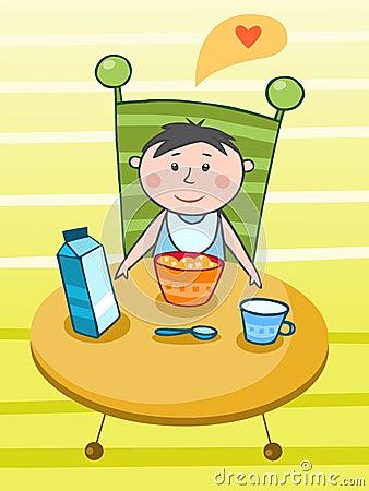 Child having a breakfast