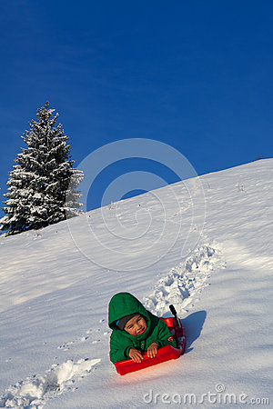 Free Child Having Fun In Winter, On A Sleigh Stock Images - 66711014