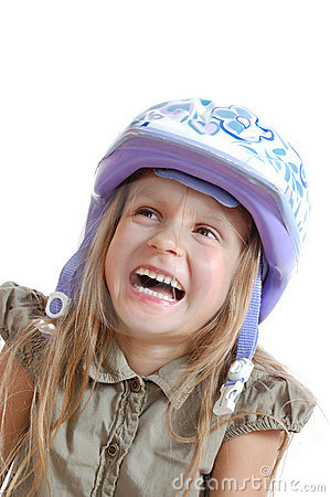 Child with helmet