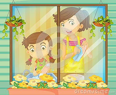 A child helping her mother washing the dishes