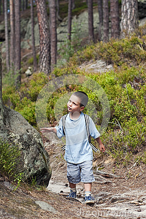 Child hiking