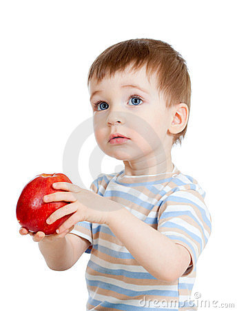 Child holding apple, isolated on white