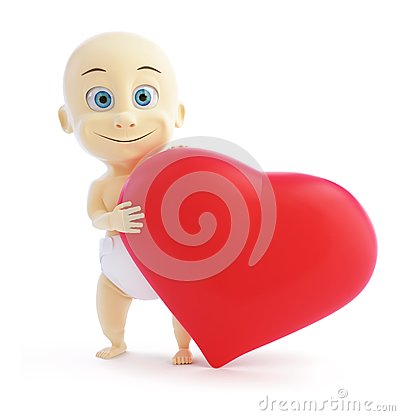 Child holding a big red sign heart