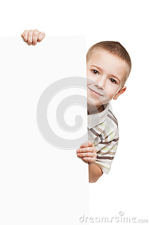 Child holding blank placard
