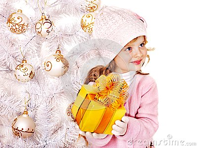 Child  holding Christmas  gift box.