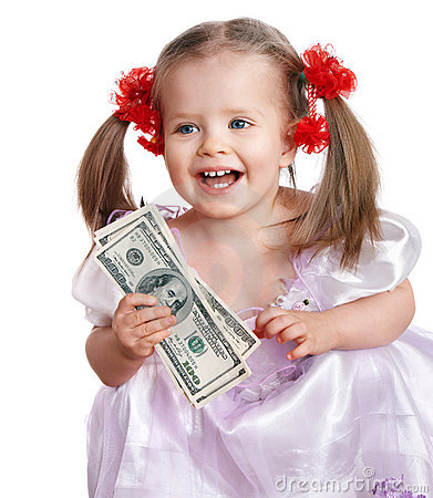 Child holding dollar money.