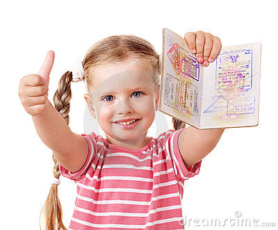 Child holding international passport.
