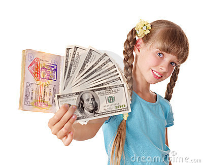 Child holding international passport and money.