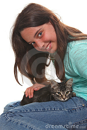 Child Holding a Kitten on White