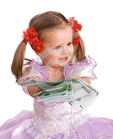 Child holding money euro in hand.