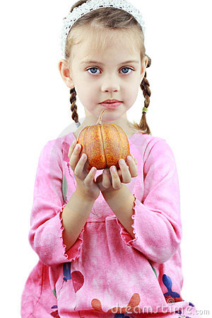 Child Holding Pumpkin Royalty Free Stock Images - Image: 16025519