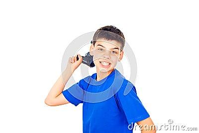Child holds the joystick isolated on white