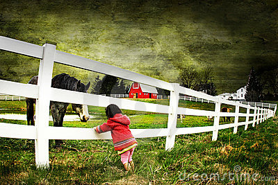 Child and a horse with texture