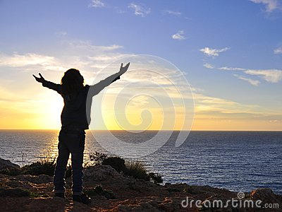 Child hugging the sun