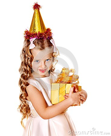 Free Child In Party Hat With Gold Gift Box . Royalty Free Stock Photography - 27568877