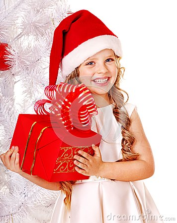 Free Child In Santa Hat With Gift Box. Royalty Free Stock Photos - 27677518