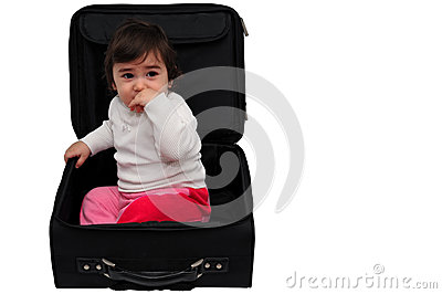 Child inside a suitcase
