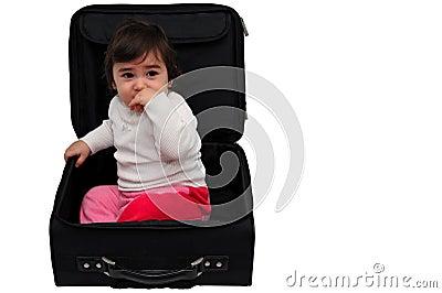 Child inside a suitcase
